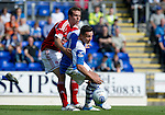 St Johnstone v Aberdeen....18.08.12   SPL.Sean Higgins tries to turn Andy Considine.Picture by Graeme Hart..Copyright Perthshire Picture Agency.Tel: 01738 623350  Mobile: 07990 594431