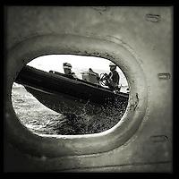Sea Watch-2.<br /> Die Sea Watch-2 ist zu ihrer 13. SAR-Mission vor der libyschen Kueste.<br /> Im Bild: Die RIB-Mannschaften bei einer Uebungseinheit.<br /> 18.10.2016, Mediterranean Sea<br /> Copyright: Christian-Ditsch.de<br /> [Inhaltsveraendernde Manipulation des Fotos nur nach ausdruecklicher Genehmigung des Fotografen. Vereinbarungen ueber Abtretung von Persoenlichkeitsrechten/Model Release der abgebildeten Person/Personen liegen nicht vor. NO MODEL RELEASE! Nur fuer Redaktionelle Zwecke. Don't publish without copyright Christian-Ditsch.de, Veroeffentlichung nur mit Fotografennennung, sowie gegen Honorar, MwSt. und Beleg. Konto: I N G - D i B a, IBAN DE58500105175400192269, BIC INGDDEFFXXX, Kontakt: post@christian-ditsch.de<br /> Bei der Bearbeitung der Dateiinformationen darf die Urheberkennzeichnung in den EXIF- und  IPTC-Daten nicht entfernt werden, diese sind in digitalen Medien nach &sect;95c UrhG rechtlich geschuetzt. Der Urhebervermerk wird gemaess &sect;13 UrhG verlangt.]