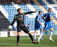 Dean Gerken of Colchester United gets the ball back into play quickly during Colchester United vs Northampton Town, Sky Bet EFL League 2 Football at the JobServe Community Stadium on 24th August 2019