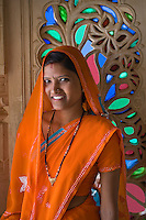 A RAJASTHANI BRIDE visits the CITY PALACE of UDAIPUR - RAJASTHAN, INDIA