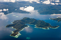 aerial, Islands near Sorong, Raja Ampat, West Papua, Indonesia, Pacific Ocean