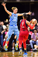 Washington, DC - July 13, 2018: Washington Mystics guard Natasha Cloud (9) is guarded by Chicago Sky guard Courtney Vandersloot (22) during game between the Washington Mystics and Chicago Sky at the Capital One Arena in Washington, DC. The Mystics defeat the Sky 88-72 (Photo by Phil Peters/Media Images International)