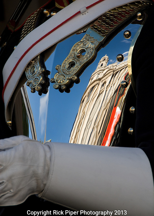 Breastplate - The Old War Office building reflected in the breastplate of a Household Cavalry Horse Guard sentry, Whitehall, London, UK