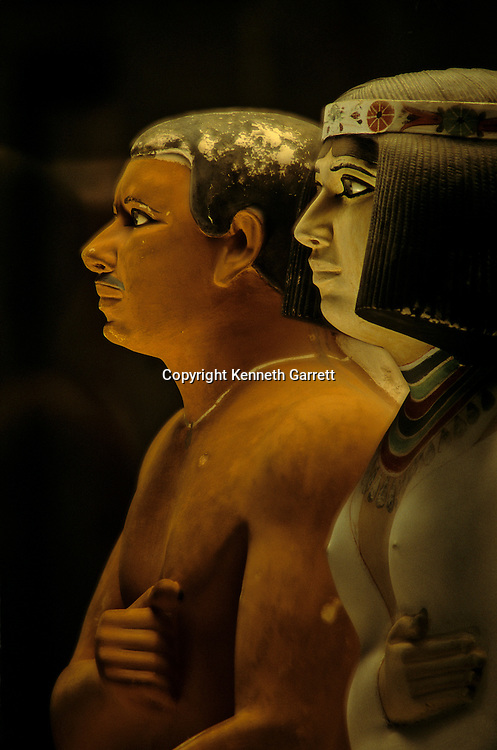 Painted limestone statues of Rahotep and Nofret.