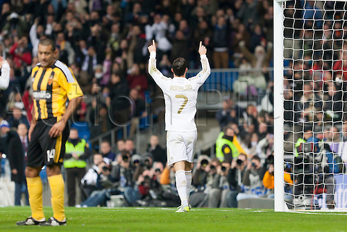 28.01.2012 Madrid, Spain,Real Madrids Cristiano Ronaldo celebrates the goal during the Spanish league game between Real Madrid and Real Zaragoza at the Santiago Bernabeu Stadium.Mandatory Credit: Actionplus