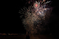 Firework display in Swansea Bay, Wales, UK. Tuesday 05 November 2019