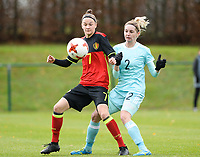 20171125 - TUBIZE , BELGIUM : Belgian Elke Van Gorp (7) pictured in a duel  during the friendly female soccer game between the Belgian Red Flames and Russia , Saturday 25 th November 2017 at the Belgian FA Euro 2000 Center in Tubize , Belgium. PHOTO SPORTPIX.BE | DAVID CATRY