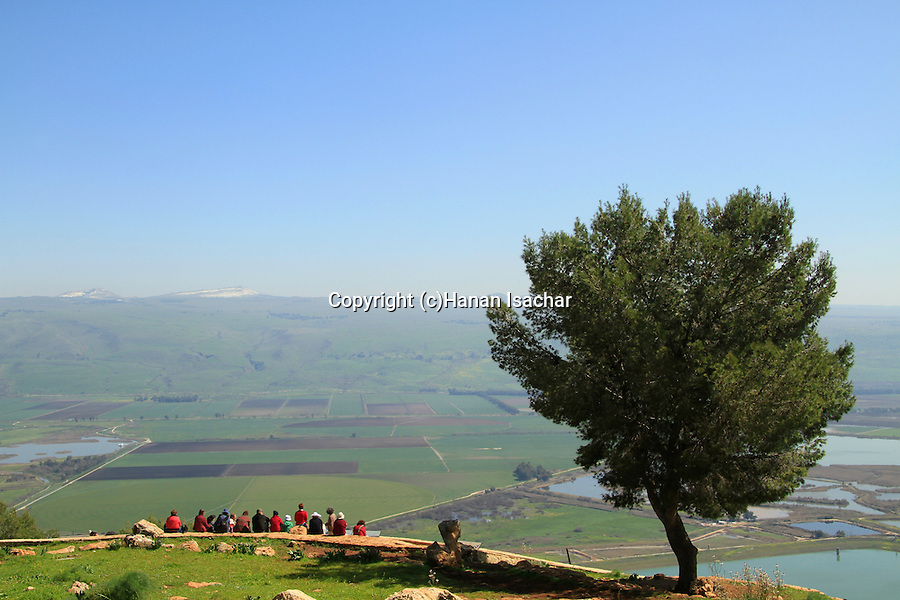 Israel, Upper Galilee, a view of the Hula valley from Mount Keren Naftali, the Golan Heights is in the background