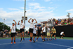 WINSTON SALEM, NC - MAY 22: Wake Forest Demon Deacons cheer on a teammate against the Ohio State Buckeyes during the Division I Men's Tennis Championship held at the Wake Forest Tennis Center on the Wake Forest University campus on May 22, 2018 in Winston Salem, North Carolina. (Photo by Jamie Schwaberow/NCAA Photos via Getty Images)