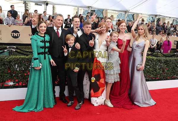 29 January 2017 - Los Angeles, California - Samantha Isler, Viggo Mortensen, Matt Ross (back), Shree Crooks (front), Nicholas Hamilton (back), Charlie Shotwell (front), Trin Miller, George MacKay, Annalise Basso, and Erin Moriarty. 23rd Annual Screen Actors Guild Awards held at The Shrine Expo Hall. <br /> CAP/ADM/FS<br /> &copy;FS/ADM/Capital Pictures