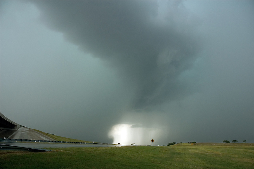 A violent wet-microburst slams the ground near Lawton Oklahoma.  Such microbursts can create dangerous wind-shears which are extremely hazardous to aircraft.