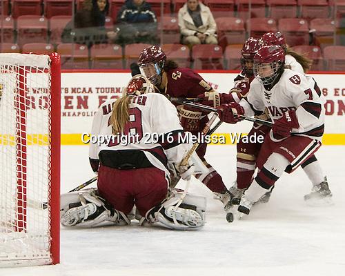 Emerance Maschmeyer (Harvard - 38), Tori Sullivan (BC - 9), Kristyn Capizzano (BC - 7), Natasha Rachlin (Harvard - 7) - The visiting Boston College Eagles defeated the Harvard University Crimson 2-0 on Tuesday, January 19, 2016, at Bright-Landry Hockey Center in Boston, Massachusetts.