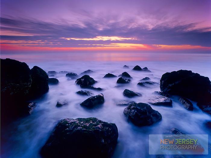 Atlantic Ocean incoming tide at sunrise, Long Beach, New Jersey