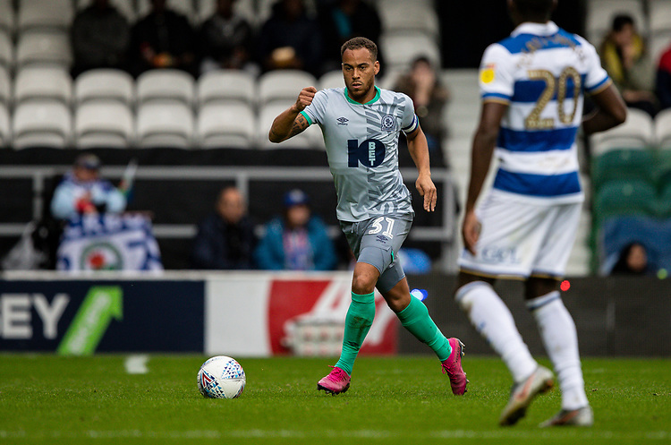 Blackburn Rovers' Elliott Bennett competing with Queens Park Rangers' Bright Osayi-Samuel (right) <br /> <br /> Photographer Andrew Kearns/CameraSport<br /> <br /> The EFL Sky Bet Championship - Queens Park Rangers v Blackburn Rovers - Saturday 5th October 2019 - Loftus Road - London<br /> <br /> World Copyright © 2019 CameraSport. All rights reserved. 43 Linden Ave. Countesthorpe. Leicester. England. LE8 5PG - Tel: +44 (0) 116 277 4147 - admin@camerasport.com - www.camerasport.com