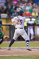Eleardo Cabrera (25) of the Bowling Green Hot Rods at bat against the Dayton Dragons at Fifth Third Field on June 8, 2018 in Dayton, Ohio. The Hot Rods defeated the Dragons 11-4.  (Brian Westerholt/Four Seam Images)