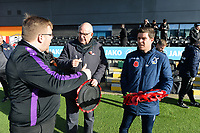 Barnet Manager John Still and Bristol Rovers Manager Darrell Clarke lay a reef during Barnet vs Bristol Rovers, Emirates FA Cup Football at the Hive Stadium on 11th November 2018