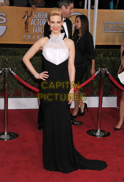 January Jones (wearing Prabal Gurung).Arrivals at the 19th Annual Screen Actors Guild Awards at the Shrine Auditorium in Los Angeles, California, USA..27th January 2013.SAG SAGs full length black white hand on hip sleeveless halterneck dress ruffle sheer .CAP/ROT/TM.©Tony Michaels/Roth Stock/Capital Pictures