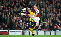 Antoine Griezmann of Atletico Madrid goes past Laurent Koscielny of Arsenal to score the equalising goal during the UEFA Europa League Semi Final 1st leg match between Arsenal and Atletico Madrid at the Emirates Stadium, London, England on 26 April 2018. Photo by Andy Aleksiejczuk / PRiME Media Images