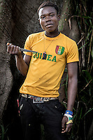 An Anti-Balaka (Anti-Machete) fighter holding a home-made knife. In late 2012 after years of instability and conflict, the Seleka, a predominantly Muslim rebel group, fuelled by grievances against the government, overran the country and, In March 2013, ousted President Francois Bozize, who fled the country. The rebel's leader Michel Djotodia was proclaimed president in August 2013. He disbanded the Seleka in September 2013 but law and order collapsed and ex-Seleka fighters roamed the country committing atrocities against the civilian population. In an attempt to defend their lives and property vigilante groups, calling themselves Anti-Balaka (Anti-Machete), formed to confront the ex-Seleka fighters but soon began to take reprisals against the wider Muslim population and the conflict became increasingly sectarian. By December 2013, with international fears of a genocide being voiced, French led peacekeepers deployed to the country began to act on a UN mandate to disarm the fighters and protect the civilian population. However, they have struggled to contain the situation. Much of the Muslim population, in particular, have been forced into ghettos where they are suffering from food shortages and limited access to healthcare. Often, only a few peacekeepers stand between them and a massacre by vengeful Anti-Balaka militants. UN reports describe 'thousands' killed, while over 600,000 people have been internally displaced and a further 200,000 have fled the county.