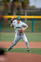 Dartmouth Big Green third baseman Steffen Torgersen (29) throws to first base during a game against the USF Bulls on March 17, 2019 at USF Baseball Stadium in Tampa, Florida.  USF defeated Dartmouth 4-1.  (Mike Janes/Four Seam Images)