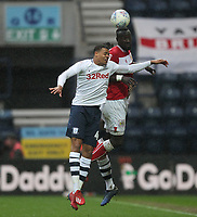 Preston North End's Lukas Nmecha jumps with Bristol City's Famara Diedhiou<br /> <br /> Photographer Mick Walker/CameraSport<br /> <br /> The EFL Sky Bet Championship - Preston North End v Bristol City - Saturday 2nd March 2019 - Deepdale Stadium - Preston<br /> <br /> World Copyright © 2019 CameraSport. All rights reserved. 43 Linden Ave. Countesthorpe. Leicester. England. LE8 5PG - Tel: +44 (0) 116 277 4147 - admin@camerasport.com - www.camerasport.com