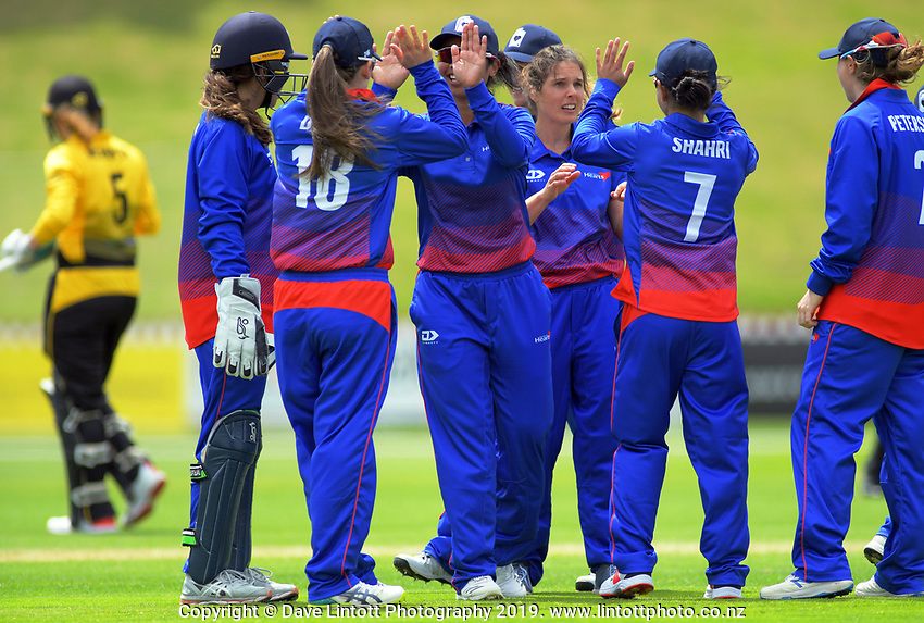 Action from the women's Hallyburton Johnstone Shield cricket match between the Wellington Blaze and Auckland Hearts at Basin Reserve in Wellington, New Zealand on Saturday, 16 November 2019. Photo: Dave Lintott / lintottphoto.co.nz