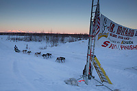 Kevin Harper approaches the finish line of the 2014 Jr. Iditarod Sled Dog Race at Happy Trails Kennel, Big Lake, Alaska<br /> Sunday February 23, 2014 <br /> <br /> Junior Iditarod Sled Dog Race 2014<br /> PHOTO BY JEFF SCHULTZ/IDITARODPHOTOS.COM  USE ONLY WITH PERMISSION