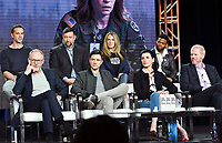 PASADENA, CA - FEBRUARY 10:  James D'Arcy, Brian Peterson, Kelly Souders, Paul James, Liam Cunningham, Topher Grace, Julianna Margulies and Noah Emmerich attends the The Hot Zone panel at the 2019 National Geographic portion of the Television Critics Association Winter Press Tour at The Langham Huntington Hotel on February 10, 2019 in Pasadena, California. (Photo by Vince Bucci/National Geographic/PictureGroup)