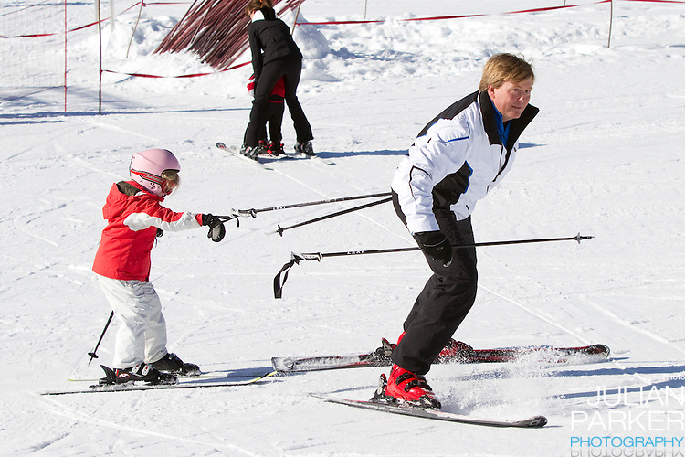 Crown Prince Willem Alexander of Holland with Daughter, Princess Alexia attend a Photocall with Members of The Dutch Royal Family during their Winter Ski Holiday in Lech Austria