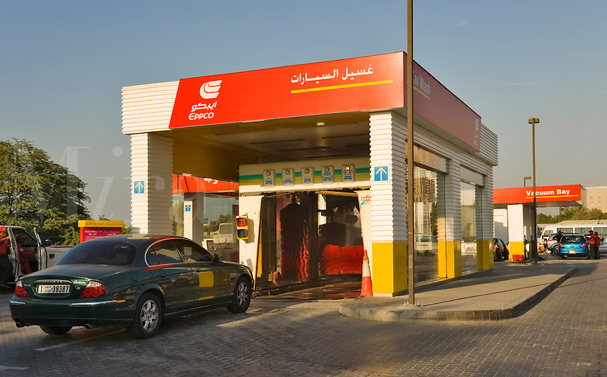 Dubai.  Automatic car wash at filling staton on Sheikh Zayed Road..