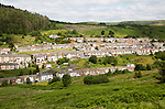 Linear pattern of terraced houses in Cwmparc, Treorchy, Rhonnda valley, South Wales, UK