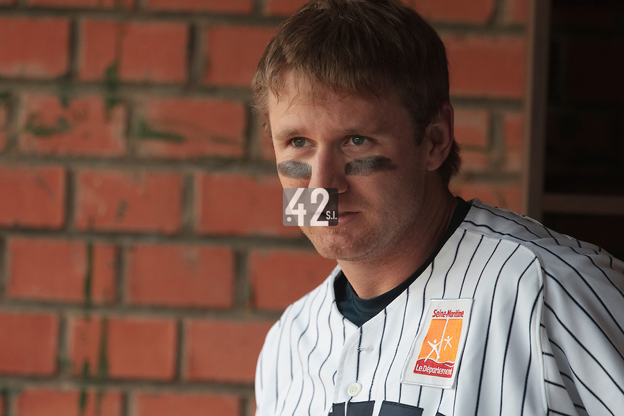 03 June 2010: Shortstop Aaron Hornostaj of Rouen is seen in the dugout during the 2010 Baseball European Cup match won  8-4 by C.B. Sant Boi over the Rouen Huskies, at the Kravi Hora ballpark, in Brno, Czech Republic.