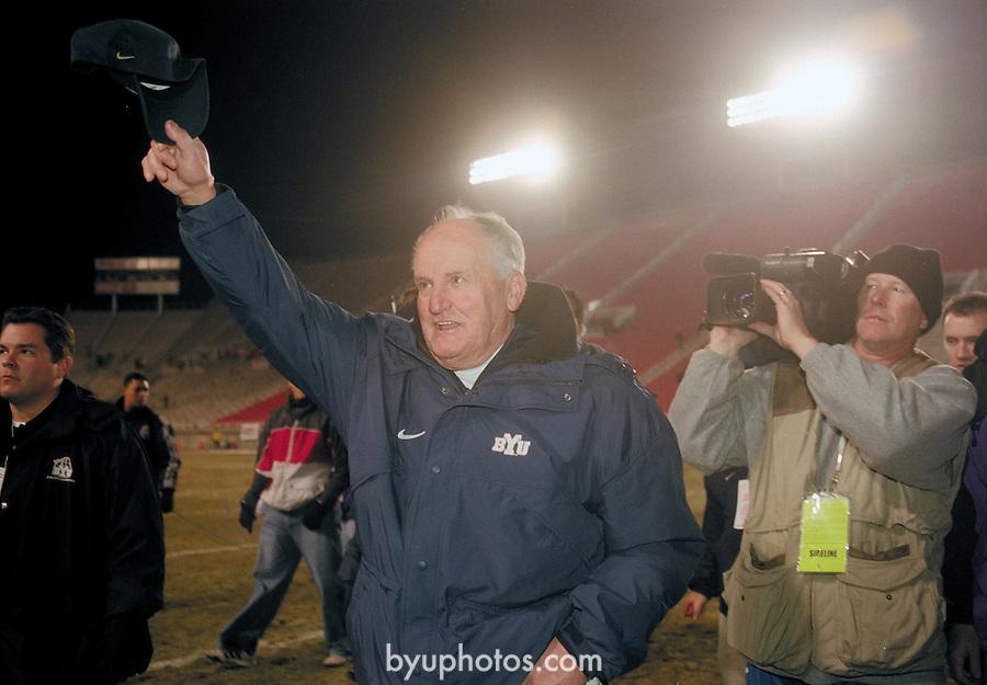 FTB 2312 O-16<br /> <br /> BYU at Utah. Coach LaVell Edwards last game.<br /> <br /> Nov 24, 2000<br /> <br /> Box: in office<br /> <br /> Photo by: Mark Philbrick/BYU<br /> <br /> Copyright BYU PHOTO 2008<br /> All Rights Reserved<br /> 801-422-7322<br /> photo@byu.edu