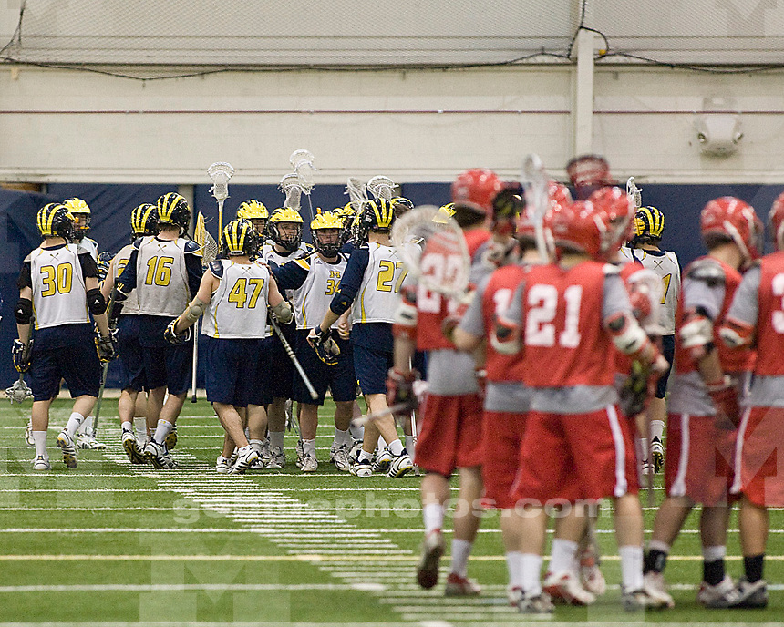 University of Michigan Men's Lacrosse team hosted.Wittenburg University on 1/ 24 / 10 at the Oosterbaan Fieldhouse.Michigan Win