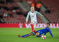 Alberto Grassi (Atalanta (on loan from Napoli) of Italy stops Will Hughes (Derby County) of England during the Under 21 International Friendly match between England and Italy at St Mary's Stadium, Southampton, England on 10 November 2016. Photo by Andy Rowland.