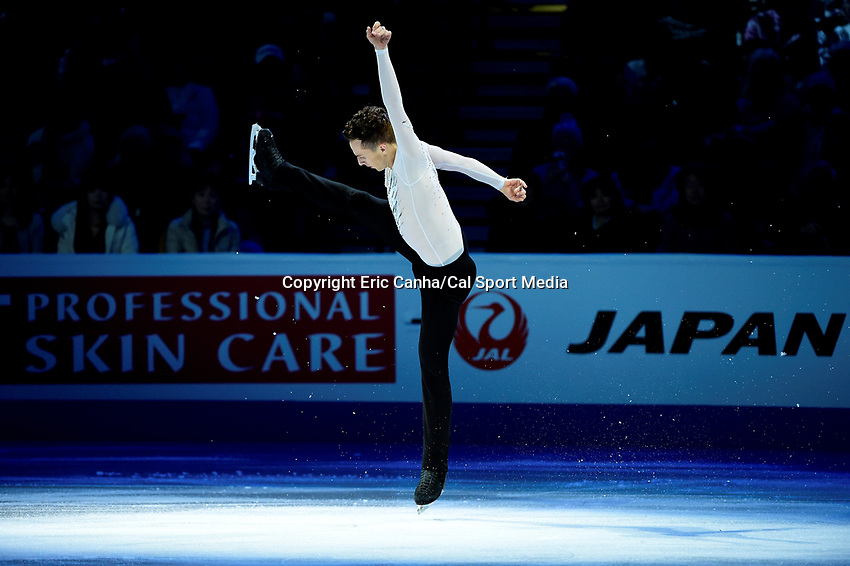 Sunday, April 3, 2016: Adam Rippon (USA) performs at the International Skating Union World Champions Exhibition, held at TD Garden, in Boston, Massachusetts.Eric Canha/CSM