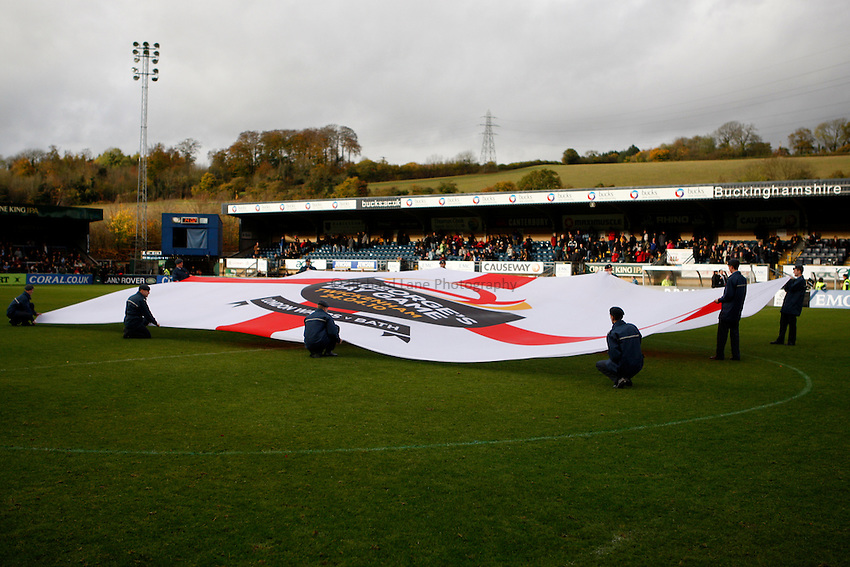 Photo: Richard Lane/Richard Lane Photography. London Wasps v Leeds Carnegie. Guinness Premiership. 01/11/2009. St. George's Day Game flag.