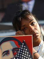 8/28/08 5:05:01 PM -- Denver, CO, U.S.A. -- Democratic National Convention Day four at Invesco Field -- ..Reygan Harmon, of Oakland, CA, wipes a tear from her face as  Martin Luther King III speaks during the DNC Thursday at Invesco Field at Mile High. ..Photo by Pat Shannahan, USA TODAY staff.
