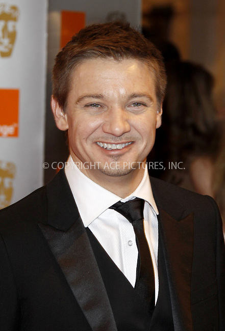 WWW.ACEPIXS.COM . . . . .  ..... . . . . US SALES ONLY . . . . .....February 21 2010, London....Jeremy Renner at the Orange British Academy Film Awards (BAFTA's) on February 21 2010 in London......Please byline: FAMOUS-ACE PICTURES... . . . .  ....Ace Pictures, Inc:  ..tel: (212) 243 8787 or (646) 769 0430..e-mail: info@acepixs.com..web: http://www.acepixs.com