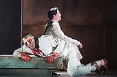 """Pictured. Peter Hoare as Creon and Roland Wood as Oedipus. Dress rehearsal of Thebans. English National Opera gives world premiere of British composer Julian Anderson's first opera """"Thebans"""" at the London Coliseum. Thebans is based on the three Theban plays by Sophocles that chronicle the cursed life of Oedipus and his daughter Antigone. Thebans opens at the London Coliseum on 3 May 2014 for 7 performances. The new production is supported by The Boltini Trust, PRS for Music Foundation and ENO's Contemporary Opera Group, a co-production with Theater Bonn in Germany. With Roland Wood as Oedipus, Peter Hoare as Creon (Jocasta's brother), Matthew Best as Tiresias (blind prophet), Susan Bickley as Jocasta (Oedipus' mother/wife) and Julia Sporsen as Antigone (Oedipus' daugher). Score by Julian Anderson, libretto by Frank McGuinness, directed by Pierre Audi and conducted by Edward Gardner."""