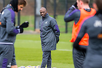 Tuesday 17 January 2017<br /> Pictured: Claude Makelele looks on during training<br /> Re:Swansea City training session at the Fairwood Training ground, Fairwood, Swansea, Wales, UK