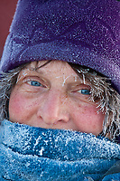 Portrait of Cindy Gallea frosted up after her run from Cripple to Ruby during the 2010 Iditarod