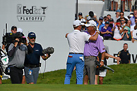 Justin Thomas (USA) embraces his dad after winning the 2019 BMW Championship, Medinah Golf Club, Chicago, Illinois, USA. 8/18/2019.<br /> Picture Ken Murray / Golffile.ie<br /> <br /> All photo usage must carry mandatory copyright credit (© Golffile | Ken Murray)
