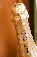 bottle neck of cremant marked brut dom e rominger westhalten alsace france