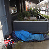 Rough Sleeper in the rain in Stoke Newington, North East London.<br />