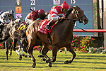 DEL MAR, CA  AUGUST 17:  #1 Cambier Parc, ridden by John Velazquez, wins the Del Mar Oaks (Grade 1) on August 17, 2019 at Del Mar Thoroughbred Club in Del Mar, CA.. (Photo by Casey Phillips/Eclipse Sportswire/CSM)