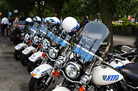 NEW YORK, NEW YORK - JULY 10: NYPD motorcycles  prior to the ticker tape parade for the 2019 FIFA Women's World Cup winning United States women's national soccer team at Canyon of Heroes on July 10, 2019 in New York, United States.