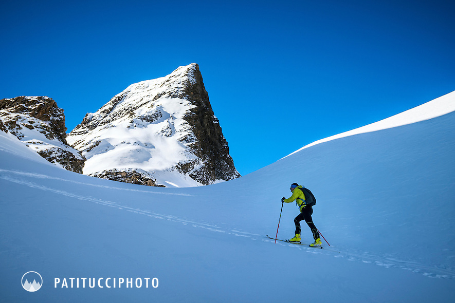 Ueli Steck using ski mountaineering for training above Grindelwald, Switzerland