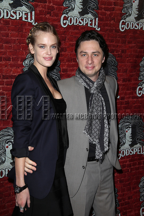 Zach Braff.arriving for the Opening Night Performance of the Broadway Revival of 'Godspell' at Circle in the Square Theatre in New York City.