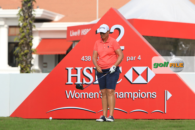 Angela Stanford (USA) on the 12th tee during Round 2 of the HSBC Women's Champions on Friday 3rd March 2017.<br /> Picture:  Thos Caffrey / Golffile